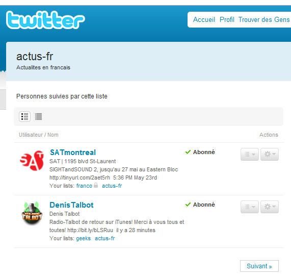 Twitter : Liste de comptes
