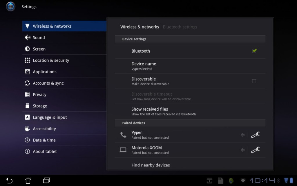 Asus Transformer Menu BlueTooth