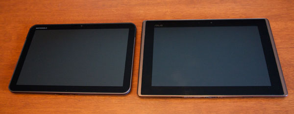 Asus Transformer vs Xoom face front