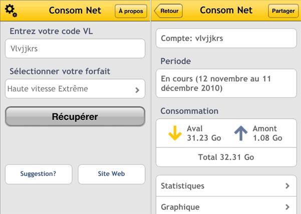 Consom Net - App iOS pour clients Vidéotron
