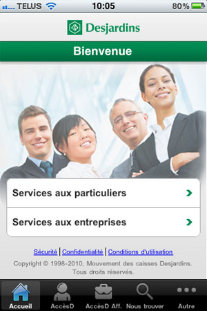 Application iOS Desjardins