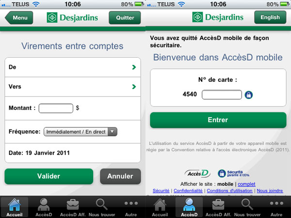 Application iOS Desjardins double session