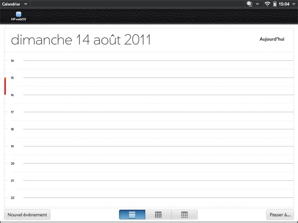 HP TouchPad calendar screenshot capture d'écran