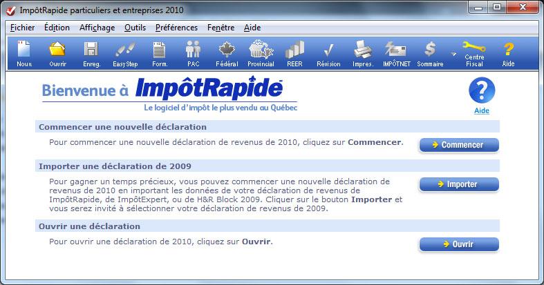 ImpotRapide écran de bienvenue