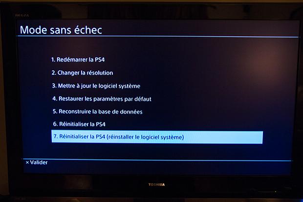 PS4 Réinitialisation
