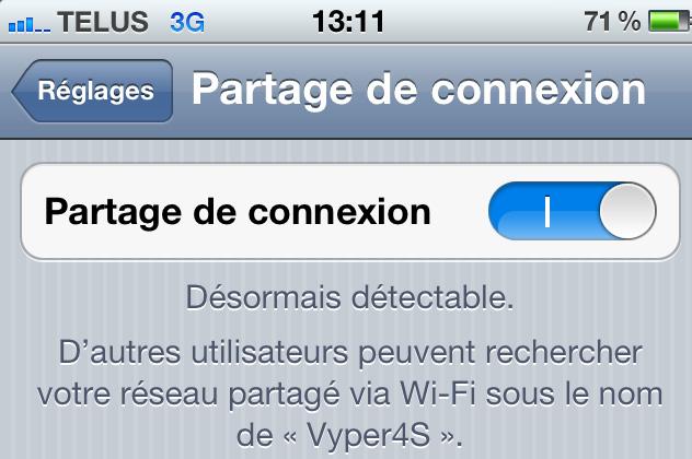iPhone - partage de connexion