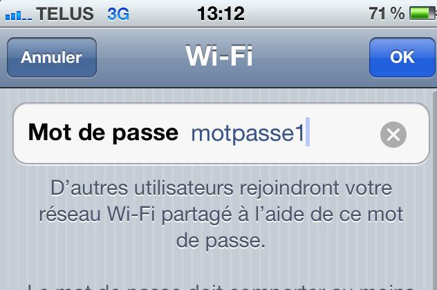 iPhone - mot de passe pour partage