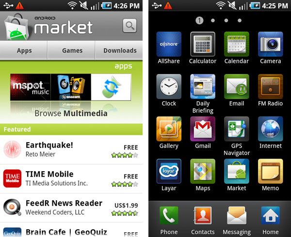 Samsung, Galaxy, Galaxy S, Vibrant, Android, Market, Apps