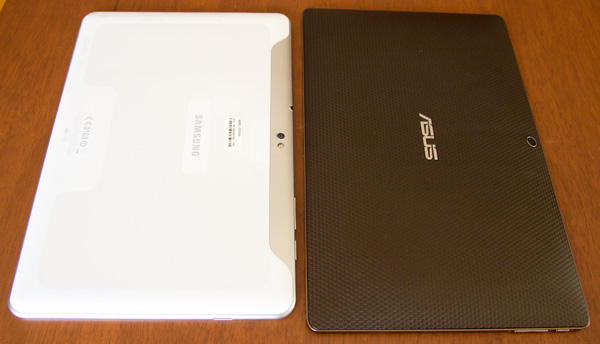 Samsung Galaxy Tab 10.1 vs Asus Transformer back