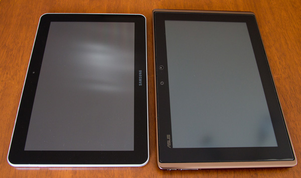 Samsung Galaxy Tab 10.1 vs Asus Transformer front