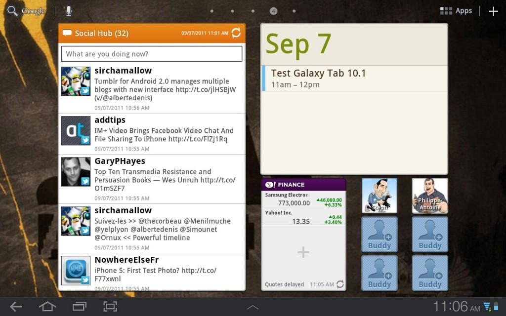 Samsung Galaxy Tab 101 widgets
