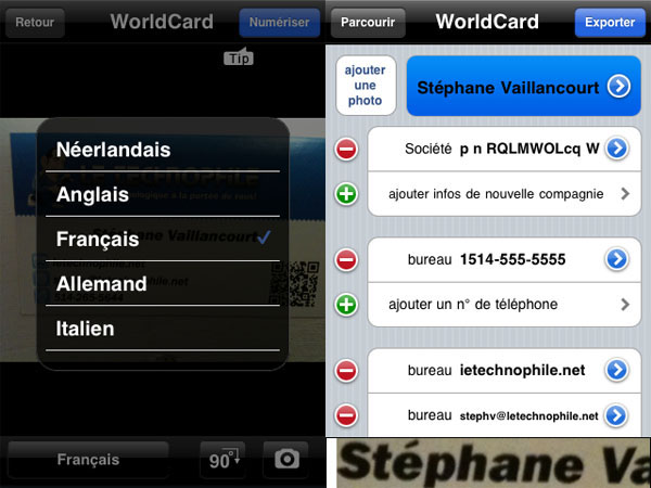 WorldCard, mobile, business, card, reader, scanner, lecteur, numériseur, scanneur, cartes, d'affaires, affaires, visite, iPhone
