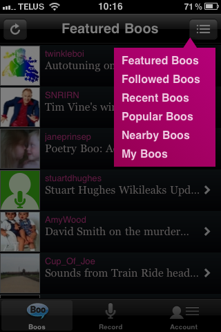 Audioboo, iOS, iPhone, Android, Web, messagerie, vocale, messages, vocaux, audio, blogging, interface