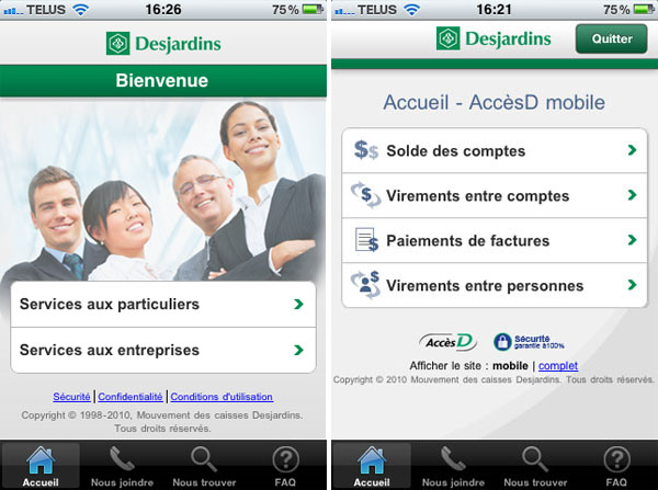 Desjardins, iPhone, iOS, application, transactions, mobile