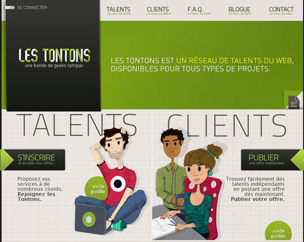 Les Tontons - Interface du site web